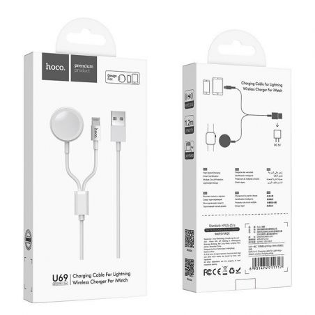 USB kabelis HOCO U69 lightning 1m su bevieliu iWatch
