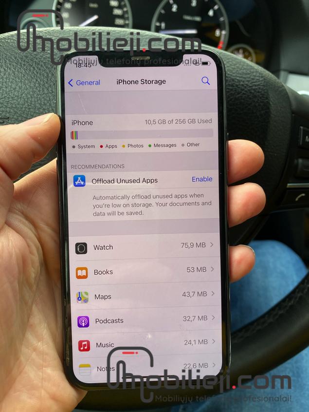 Neperrašomas, užstrigęs Apple iPhone 11 Pro + atminties didinimas